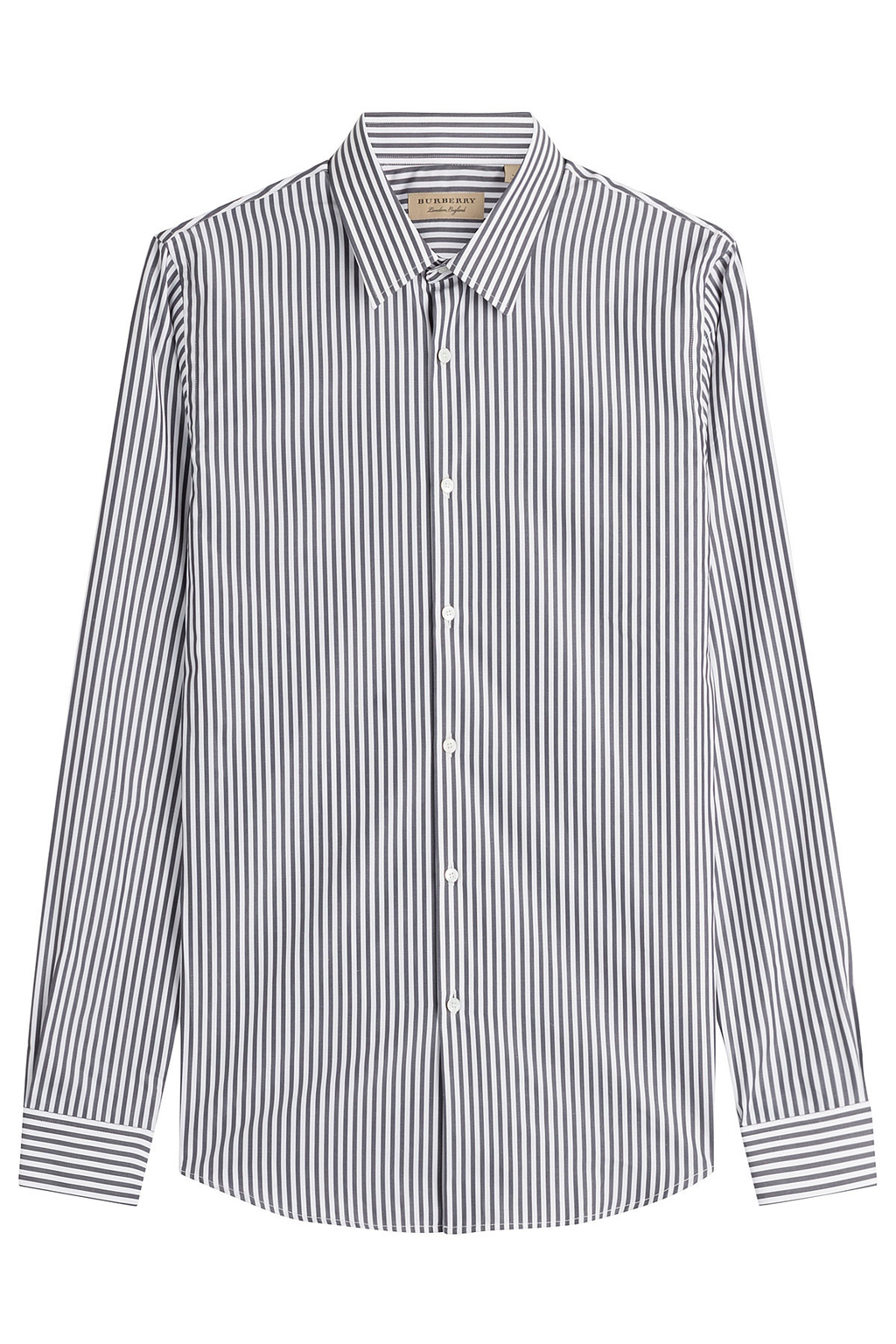Seaford Striped Cotton Shirt Stripes - neckline: shirt collar/peter pan/zip with opening; pattern: vertical stripes; style: shirt; secondary colour: white; predominant colour: black; occasions: work; length: standard; fibres: cotton - 100%; fit: body skimming; sleeve length: long sleeve; sleeve style: standard; texture group: cotton feel fabrics; pattern type: fabric; multicoloured: multicoloured; season: a/w 2016
