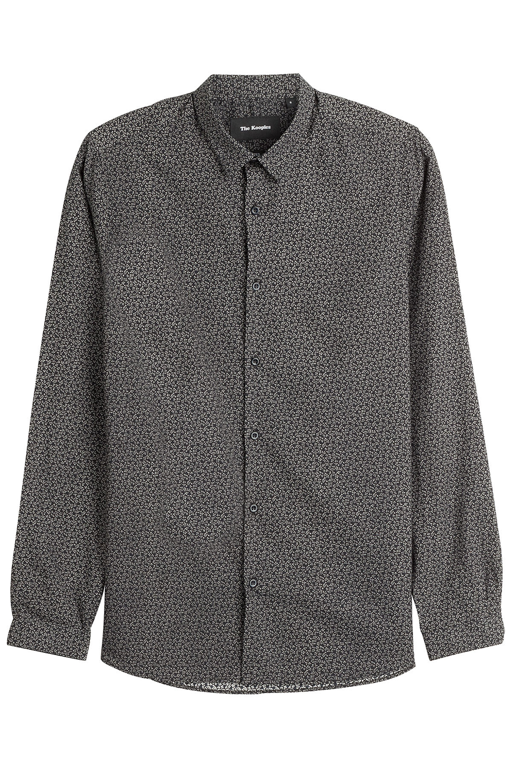 Printed Cotton Shirt - neckline: shirt collar/peter pan/zip with opening; style: shirt; predominant colour: charcoal; occasions: casual; length: standard; fibres: cotton - 100%; fit: body skimming; sleeve length: long sleeve; sleeve style: standard; texture group: cotton feel fabrics; pattern type: fabric; pattern size: standard; pattern: patterned/print; season: a/w 2016; wardrobe: highlight