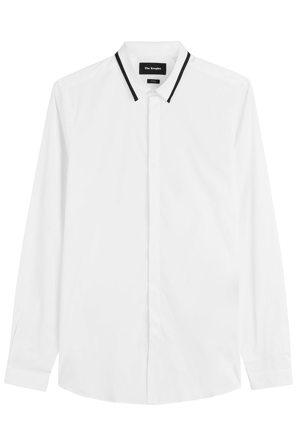 Cotton Shirt With Contrast Trim White - neckline: shirt collar/peter pan/zip with opening; pattern: plain; style: shirt; predominant colour: white; secondary colour: black; occasions: work; length: standard; fibres: cotton - 100%; fit: body skimming; sleeve length: long sleeve; sleeve style: standard; pattern type: fabric; texture group: woven light midweight; season: a/w 2016