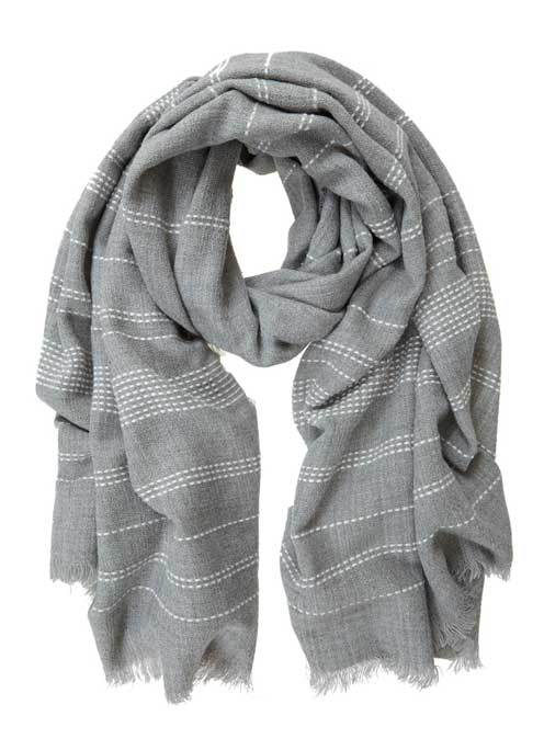 Grey Stab Stitch Stripe Scarf - secondary colour: white; predominant colour: mid grey; occasions: casual; type of pattern: standard; style: regular; size: standard; material: fabric; pattern: horizontal stripes; multicoloured: multicoloured; season: a/w 2016; wardrobe: highlight