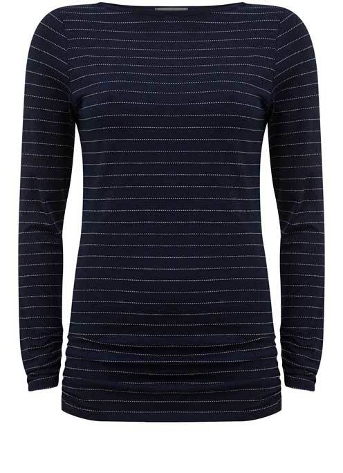 Ink Elbow Patch Stripe Tee - neckline: slash/boat neckline; pattern: horizontal stripes; predominant colour: navy; secondary colour: light grey; occasions: casual; length: standard; style: top; fibres: cotton - stretch; fit: body skimming; sleeve length: long sleeve; sleeve style: standard; pattern type: fabric; texture group: jersey - stretchy/drapey; multicoloured: multicoloured; wardrobe: basic; season: a/w 2016