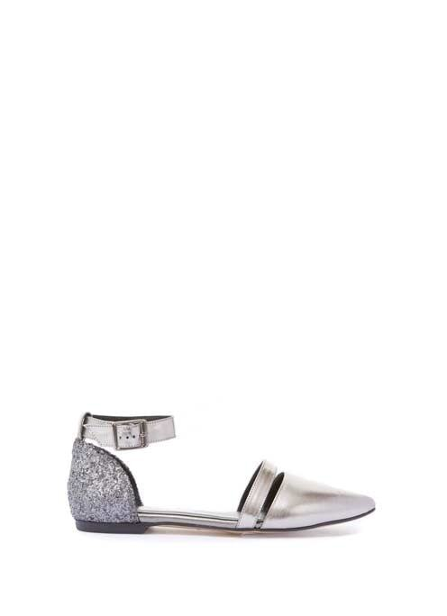 Metallic Payton Glitter Pump - predominant colour: silver; occasions: casual; material: leather; heel height: flat; embellishment: glitter; ankle detail: ankle strap; toe: pointed toe; style: ballerinas / pumps; finish: plain; pattern: plain; season: a/w 2016