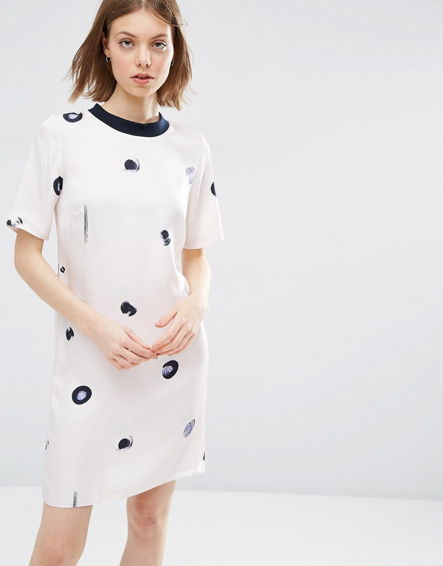 Spot Print T Shirt Dress Multi - style: t-shirt; pattern: polka dot; predominant colour: white; secondary colour: black; occasions: evening; length: just above the knee; fit: body skimming; fibres: viscose/rayon - 100%; neckline: crew; sleeve length: short sleeve; sleeve style: standard; pattern type: fabric; texture group: woven light midweight; multicoloured: multicoloured; season: a/w 2016; wardrobe: event