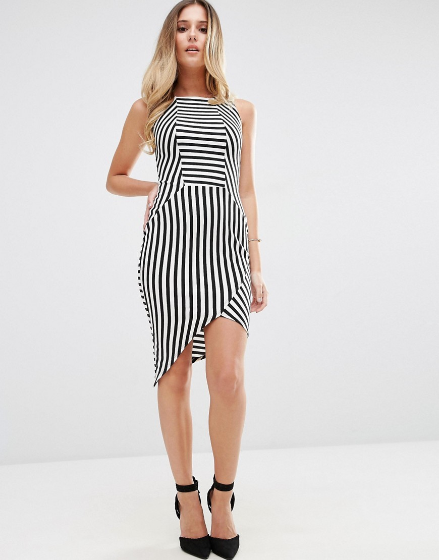 Striped Pencil Dress With Asymmetric Hem Monochrome - fit: tight; sleeve style: sleeveless; style: bodycon; pattern: striped; secondary colour: ivory/cream; predominant colour: black; occasions: evening; length: just above the knee; fibres: polyester/polyamide - stretch; neckline: crew; sleeve length: sleeveless; pattern type: fabric; texture group: jersey - stretchy/drapey; multicoloured: multicoloured; season: a/w 2016