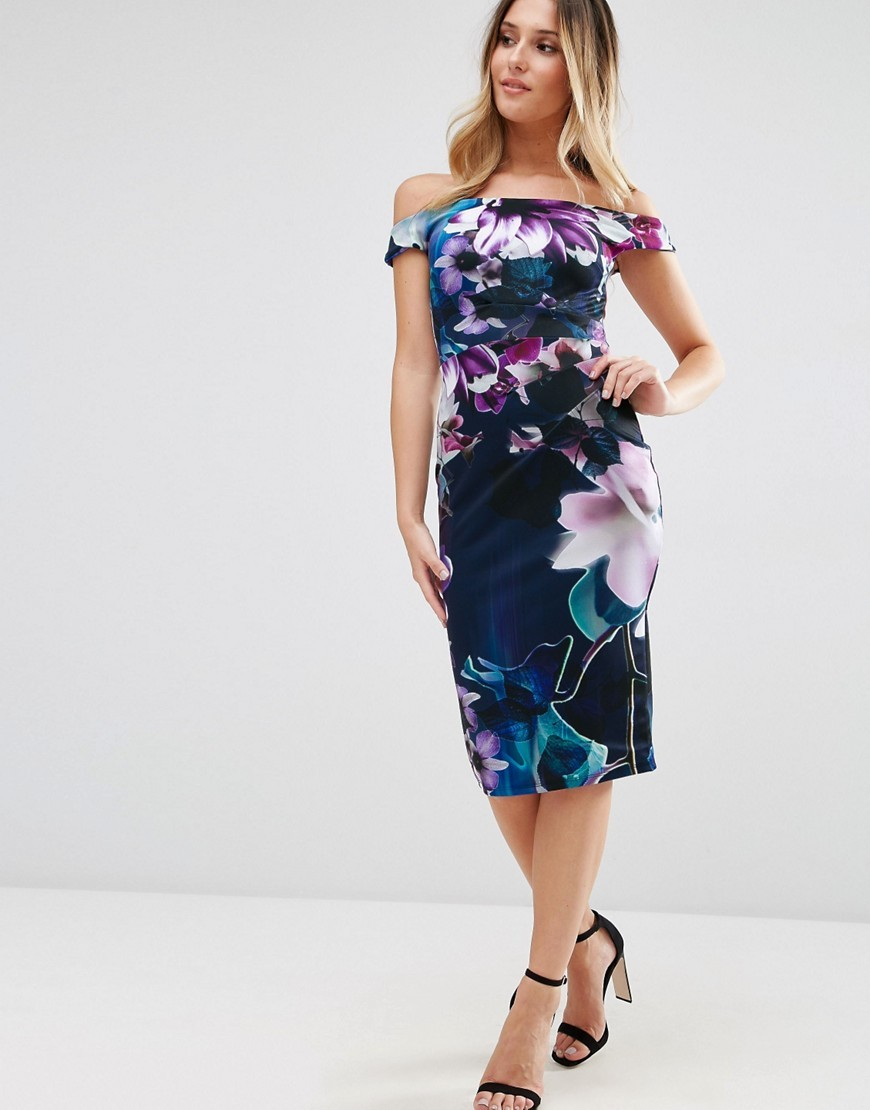 Bardot Pencil Midi Dress In Floral Print Navy Floral - style: shift; length: below the knee; neckline: off the shoulder; sleeve style: capped; fit: tailored/fitted; secondary colour: purple; predominant colour: navy; occasions: evening; fibres: polyester/polyamide - stretch; sleeve length: short sleeve; pattern type: fabric; pattern size: big & busy; pattern: florals; texture group: jersey - stretchy/drapey; multicoloured: multicoloured; season: a/w 2016; wardrobe: event