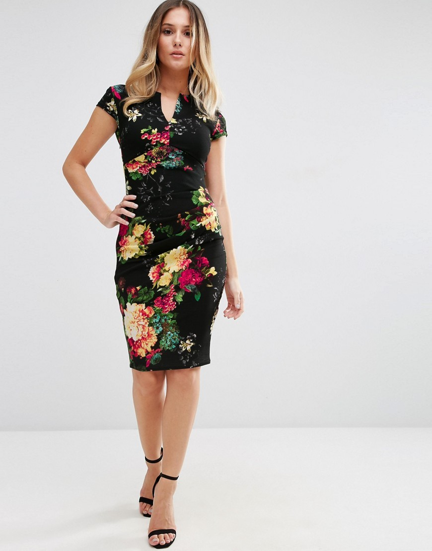 Floral Pencil Dress With V Front Navy - neckline: v-neck; fit: tight; style: bodycon; secondary colour: true red; predominant colour: black; occasions: evening; length: on the knee; fibres: polyester/polyamide - stretch; sleeve length: short sleeve; sleeve style: standard; texture group: jersey - clingy; pattern type: fabric; pattern size: big & busy; pattern: florals; multicoloured: multicoloured; season: a/w 2016; wardrobe: event