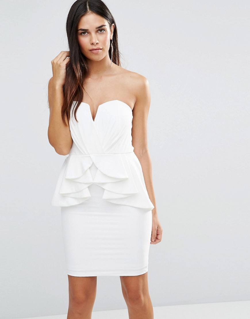 Pencil Dress With Peplum White - neckline: strapless (straight/sweetheart); fit: tight; pattern: plain; sleeve style: sleeveless; style: bodycon; predominant colour: white; occasions: evening; length: just above the knee; fibres: polyester/polyamide - stretch; sleeve length: sleeveless; texture group: jersey - clingy; hip detail: ruffles/tiers/tie detail at hip; pattern type: fabric; season: a/w 2016; wardrobe: event