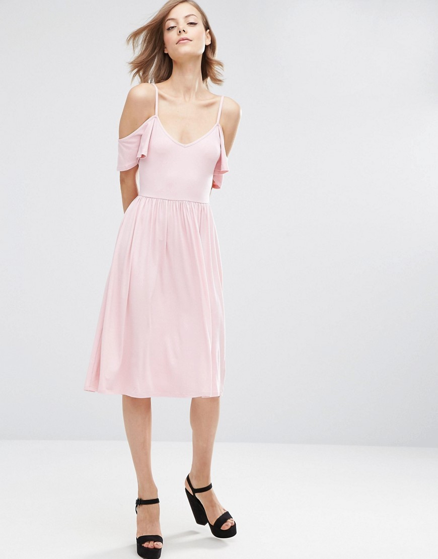 Midi Cold Shoulder Skater Dress Nude - length: below the knee; neckline: low v-neck; pattern: plain; predominant colour: blush; occasions: evening; fit: fitted at waist & bust; style: fit & flare; fibres: viscose/rayon - stretch; shoulder detail: cut out shoulder; sleeve length: short sleeve; sleeve style: standard; texture group: cotton feel fabrics; pattern type: fabric; season: a/w 2016; wardrobe: event