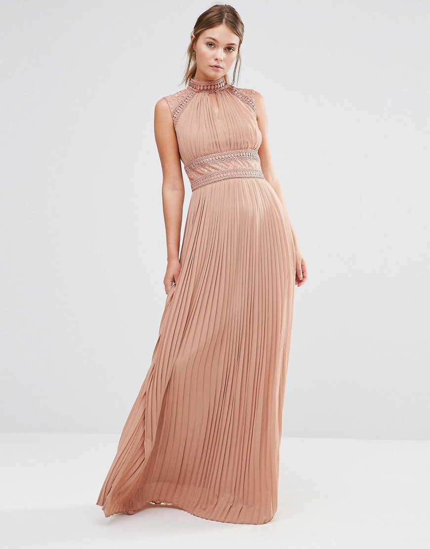 Wedding Pleated Maxi Dress With Lace Detail Taupe - pattern: plain; sleeve style: sleeveless; style: maxi dress; neckline: high neck; predominant colour: blush; occasions: evening; length: floor length; fit: body skimming; fibres: polyester/polyamide - 100%; sleeve length: sleeveless; texture group: sheer fabrics/chiffon/organza etc.; pattern type: fabric; season: a/w 2016; wardrobe: event