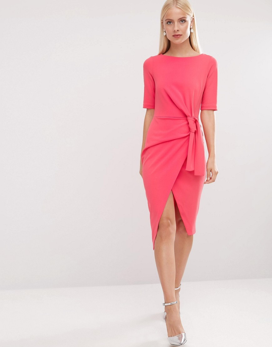 Pencil Dress With Knot Front Detail Pink - style: shift; length: below the knee; pattern: plain; waist detail: belted waist/tie at waist/drawstring; predominant colour: pink; occasions: evening; fit: body skimming; fibres: polyester/polyamide - stretch; neckline: crew; hip detail: slits at hip; sleeve length: half sleeve; sleeve style: standard; pattern type: fabric; texture group: jersey - stretchy/drapey; season: a/w 2016