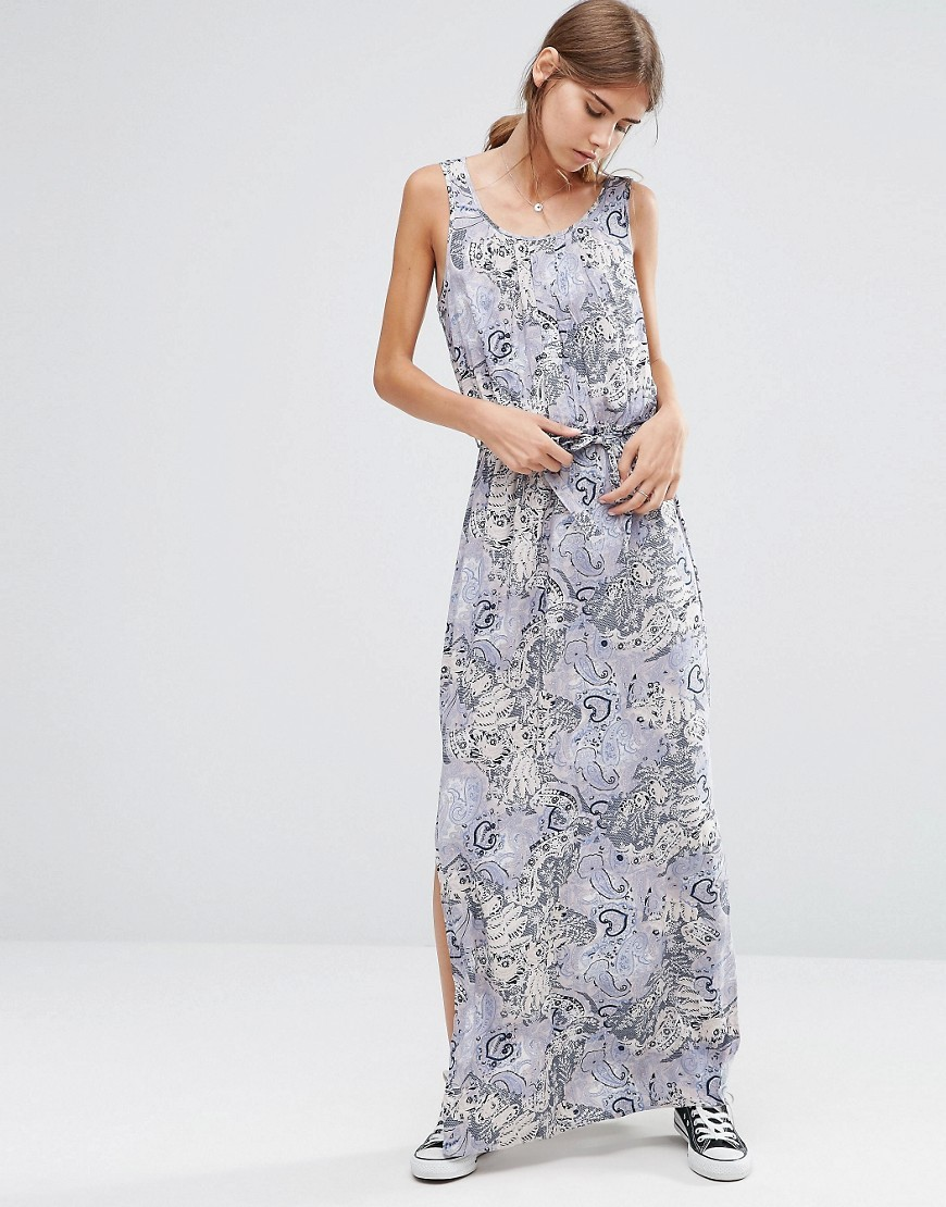 Easy Floral Print Maxi Dress Paisley Print - neckline: round neck; sleeve style: sleeveless; style: maxi dress; waist detail: belted waist/tie at waist/drawstring; predominant colour: light grey; occasions: evening; length: floor length; fit: body skimming; fibres: viscose/rayon - 100%; sleeve length: sleeveless; pattern type: fabric; pattern: florals; texture group: jersey - stretchy/drapey; season: a/w 2016; wardrobe: event