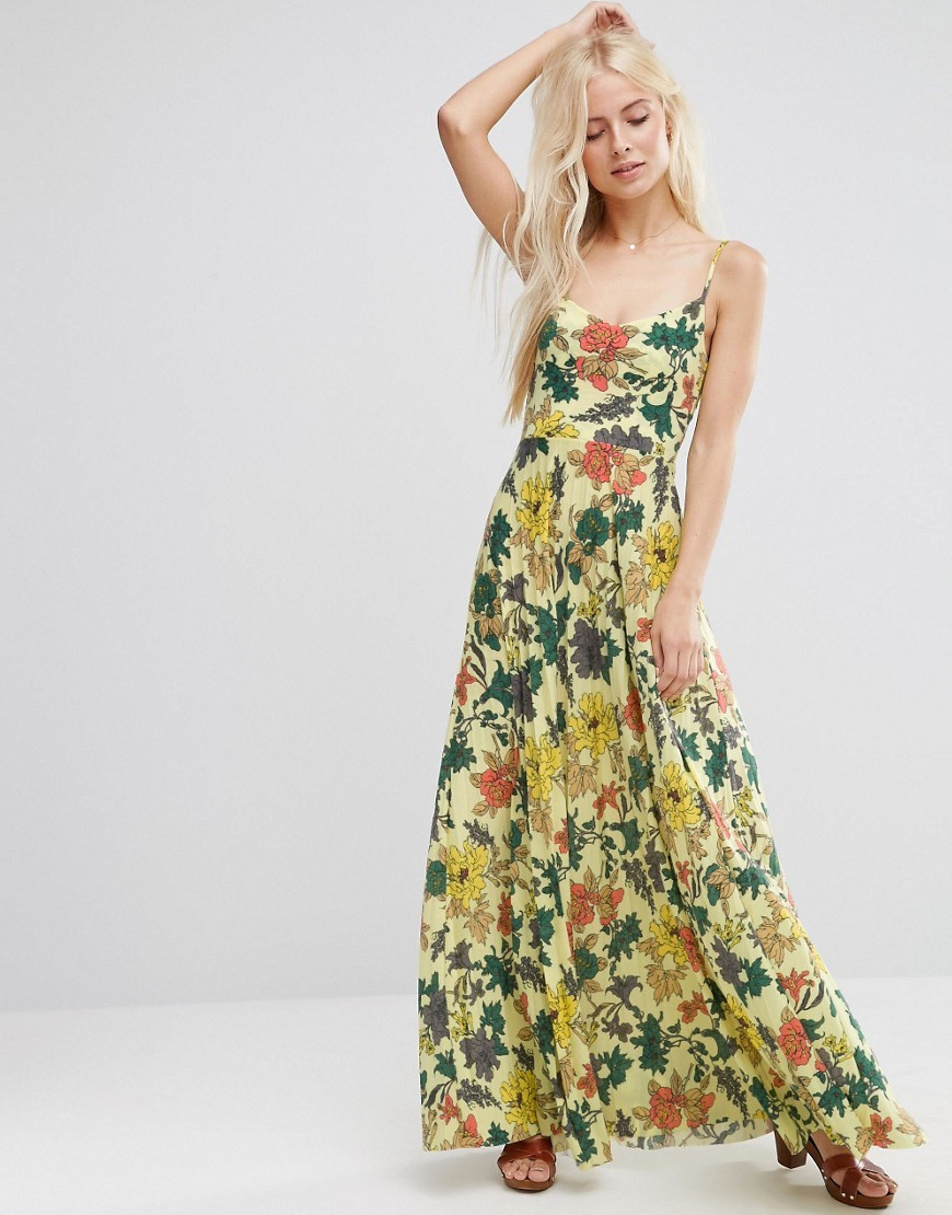 Occasion Cami Maxi Dress With Pleated Skirt In Yellow Floral Print Multi - sleeve style: spaghetti straps; style: maxi dress; length: ankle length; predominant colour: ivory/cream; secondary colour: dark green; occasions: casual; fit: body skimming; neckline: scoop; fibres: polyester/polyamide - 100%; sleeve length: sleeveless; pattern type: fabric; pattern: florals; texture group: jersey - stretchy/drapey; multicoloured: multicoloured; season: a/w 2016