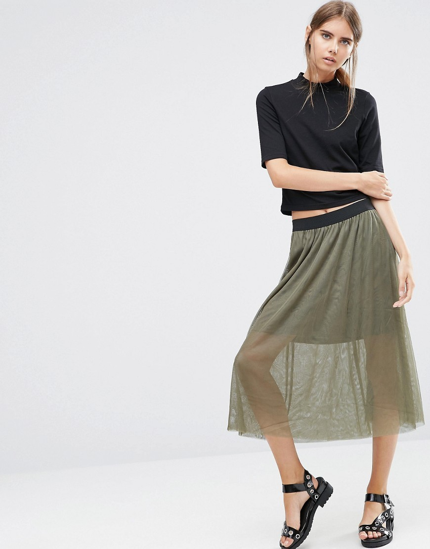 Midi Skirt With Mesh Layer Ivy Green - length: calf length; pattern: plain; style: full/prom skirt; fit: body skimming; waist: mid/regular rise; predominant colour: khaki; occasions: casual; fibres: polyester/polyamide - 100%; texture group: sheer fabrics/chiffon/organza etc.; pattern type: fabric; wardrobe: basic; season: a/w 2016