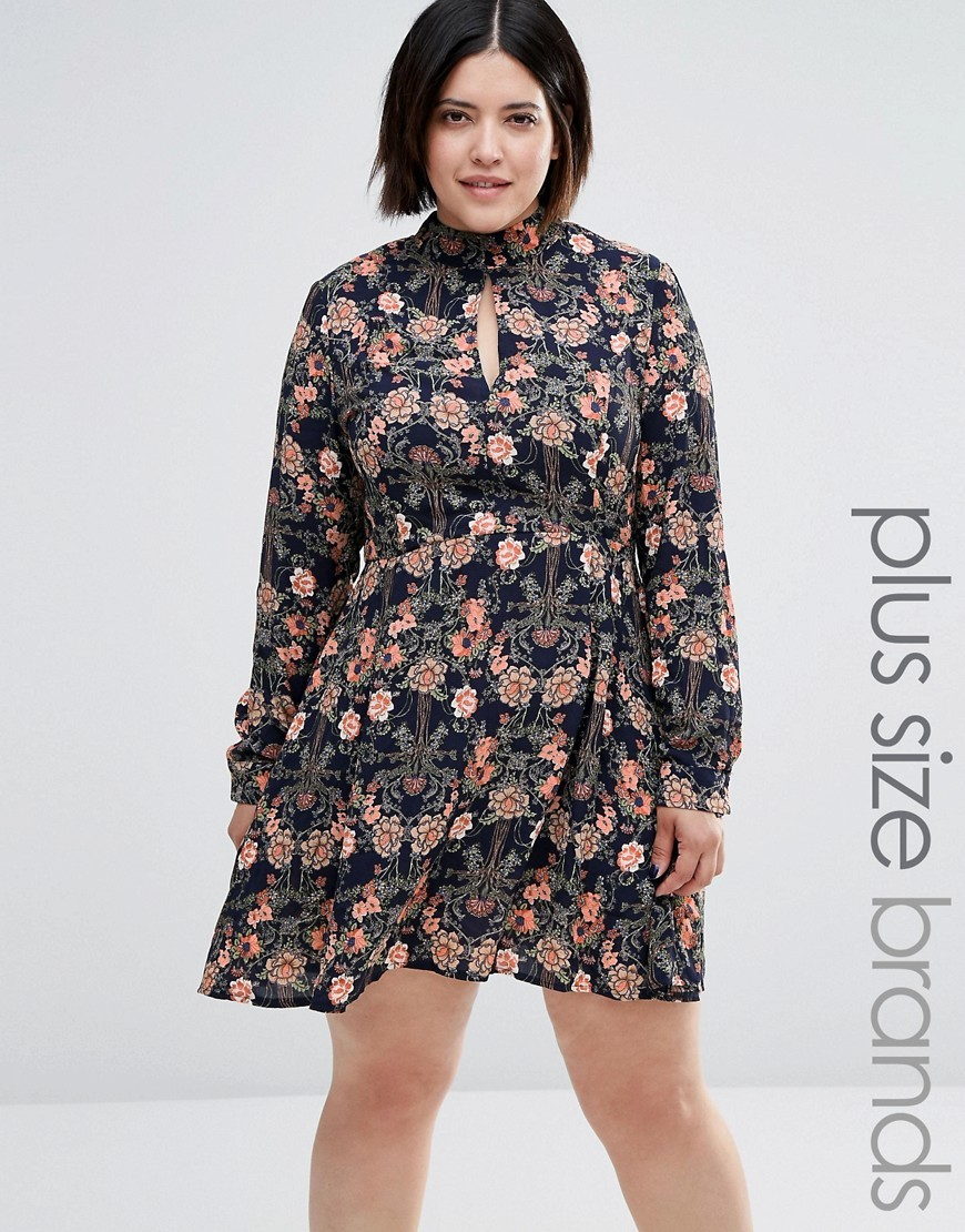 Plus Skater Dress In Floral Print Multi - neckline: high neck; secondary colour: pink; predominant colour: black; occasions: evening; length: just above the knee; fit: fitted at waist & bust; style: fit & flare; fibres: polyester/polyamide - 100%; sleeve length: long sleeve; sleeve style: standard; pattern type: fabric; pattern: florals; texture group: jersey - stretchy/drapey; multicoloured: multicoloured; season: a/w 2016; wardrobe: event