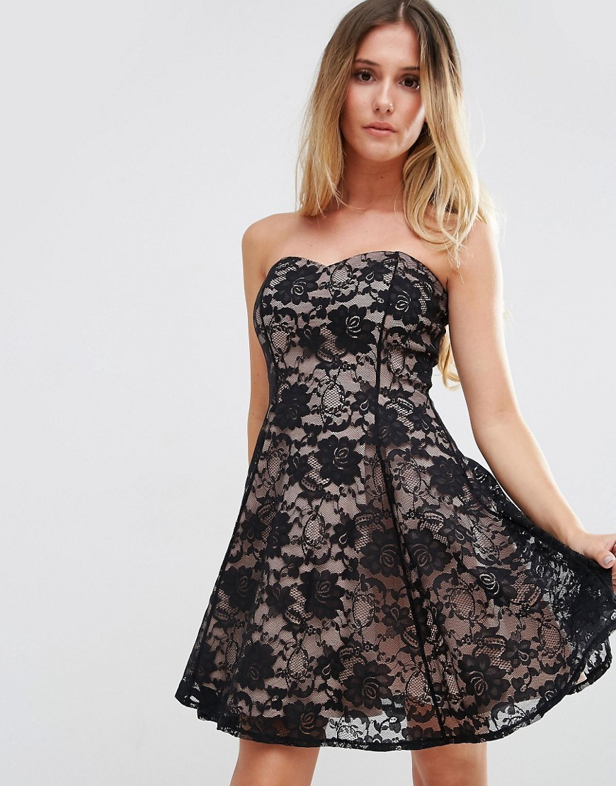 Sweetheart Neckline Lace Dress Black/Nude - neckline: strapless (straight/sweetheart); sleeve style: strapless; secondary colour: stone; predominant colour: black; occasions: evening; length: just above the knee; fit: fitted at waist & bust; style: fit & flare; fibres: nylon - 100%; sleeve length: sleeveless; texture group: lace; pattern type: fabric; pattern size: standard; pattern: patterned/print; season: a/w 2016; wardrobe: event