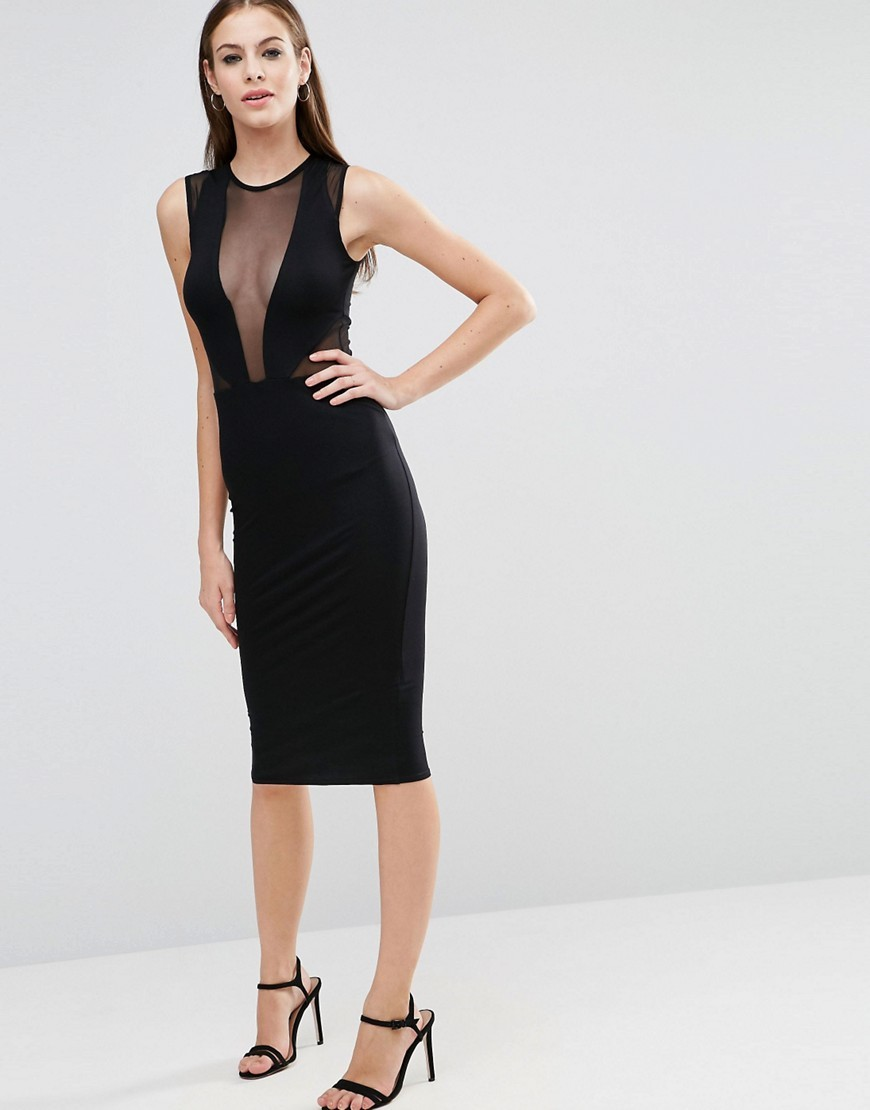 Mesh Insert Bodycon Dress Black - length: below the knee; fit: tight; pattern: plain; sleeve style: sleeveless; style: bodycon; bust detail: sheer at bust; predominant colour: black; occasions: evening; fibres: polyester/polyamide - stretch; neckline: crew; sleeve length: sleeveless; texture group: jersey - clingy; pattern type: fabric; season: a/w 2016