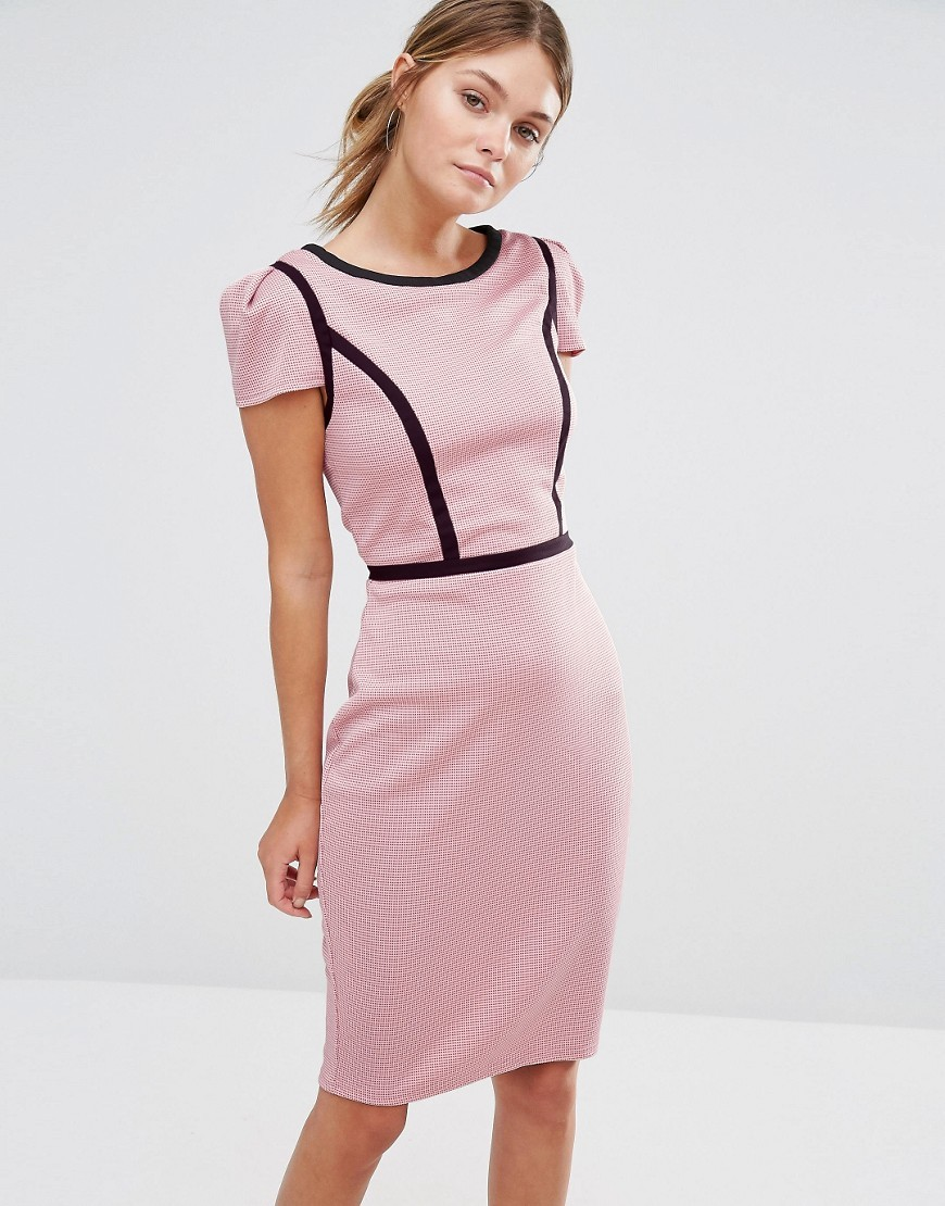 Gingham Pencil Dress With Contrast Piping Pink/Black - style: shift; pattern: plain; hip detail: draws attention to hips; predominant colour: blush; secondary colour: black; occasions: evening; length: just above the knee; fit: body skimming; fibres: polyester/polyamide - stretch; neckline: crew; sleeve length: short sleeve; sleeve style: standard; pattern type: fabric; texture group: jersey - stretchy/drapey; multicoloured: multicoloured; season: a/w 2016; wardrobe: event