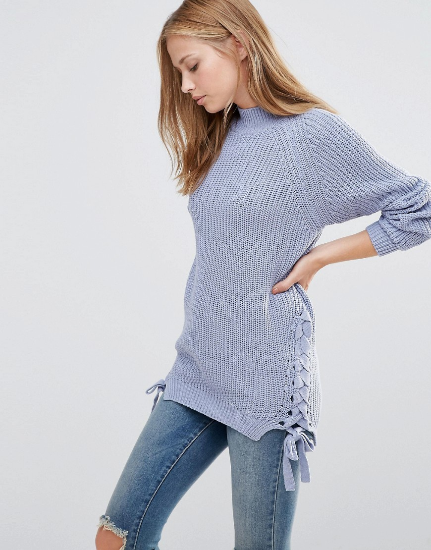 Jumper With Lace Up Sides Eventide - pattern: plain; neckline: high neck; style: standard; predominant colour: lilac; occasions: casual; length: standard; fibres: cotton - mix; fit: slim fit; sleeve length: long sleeve; sleeve style: standard; texture group: knits/crochet; pattern type: fabric; season: a/w 2016