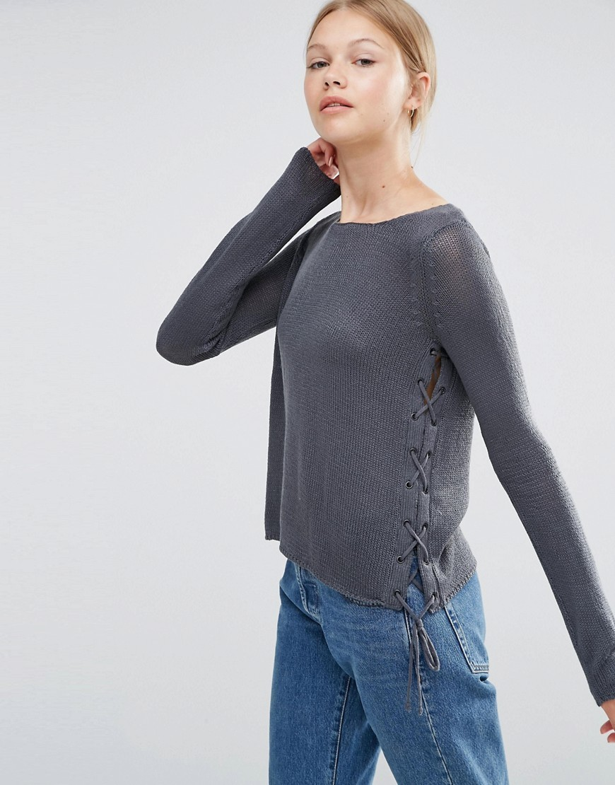 Long Sleever Lightweight Jumper Ombre Blue - neckline: round neck; pattern: plain; style: standard; predominant colour: denim; occasions: casual, work, creative work; length: standard; fibres: cotton - mix; fit: slim fit; sleeve length: long sleeve; sleeve style: standard; texture group: knits/crochet; pattern type: knitted - fine stitch; season: a/w 2016