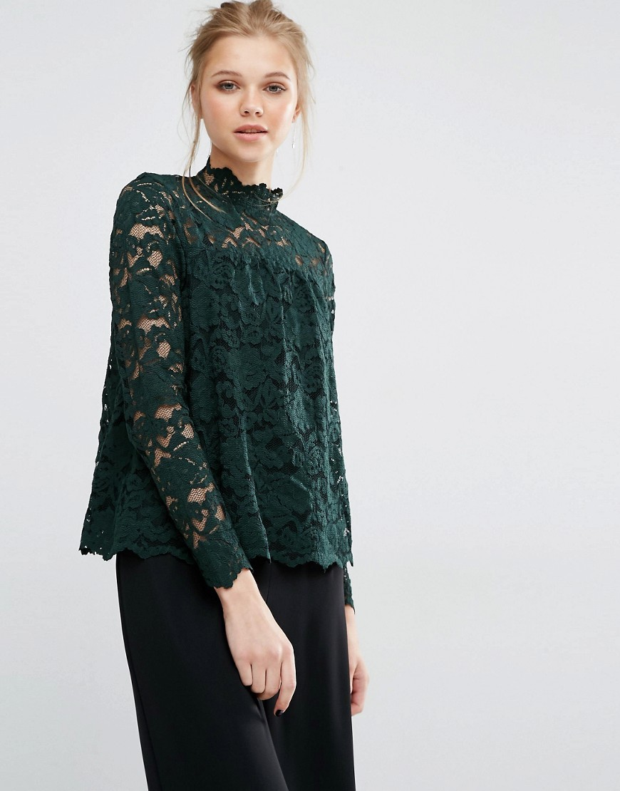 Ella Long Sleeve Lace Top Scarab - pattern: plain; neckline: high neck; predominant colour: dark green; occasions: evening; length: standard; style: top; fibres: nylon - mix; fit: body skimming; sleeve length: long sleeve; sleeve style: standard; texture group: lace; pattern type: fabric; pattern size: standard; season: a/w 2016; wardrobe: event