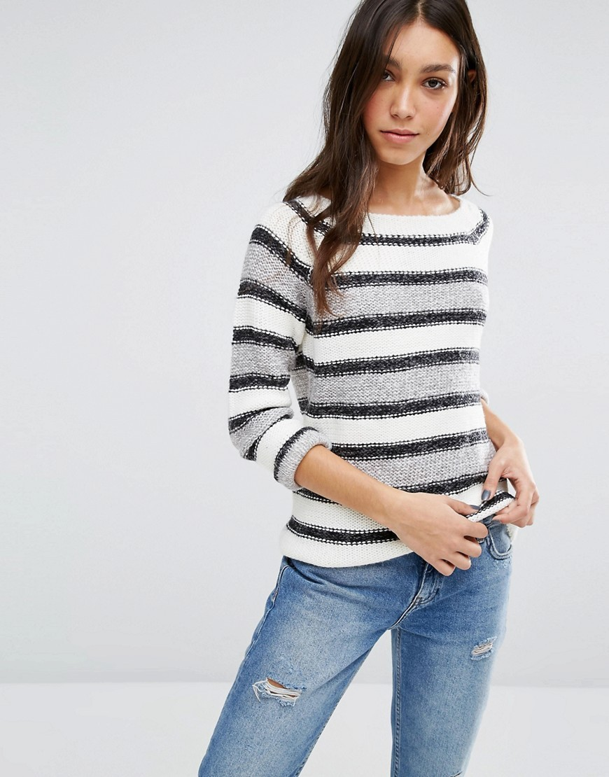 Grey And Black Stripe Jumper Ivory/Grey - pattern: horizontal stripes; style: standard; predominant colour: ivory/cream; secondary colour: light grey; occasions: casual; length: standard; fibres: acrylic - 100%; fit: slim fit; neckline: crew; sleeve length: long sleeve; sleeve style: standard; texture group: knits/crochet; pattern type: fabric; multicoloured: multicoloured; season: a/w 2016; wardrobe: highlight