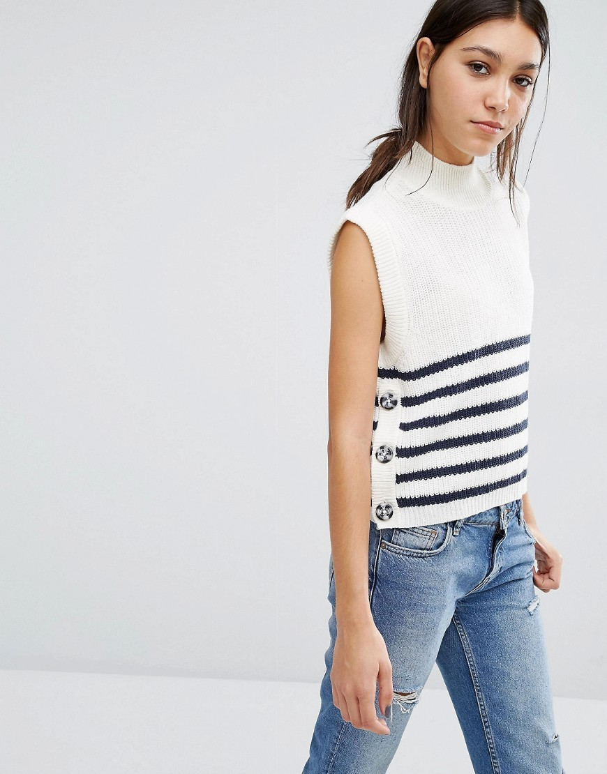Stripe Button Side Crop Jumper Ivory/Navy - pattern: horizontal stripes; sleeve style: sleeveless; neckline: high neck; style: standard; predominant colour: ivory/cream; secondary colour: navy; occasions: casual; length: standard; fibres: cotton - mix; fit: slim fit; sleeve length: sleeveless; texture group: knits/crochet; pattern type: fabric; multicoloured: multicoloured; season: a/w 2016; wardrobe: highlight