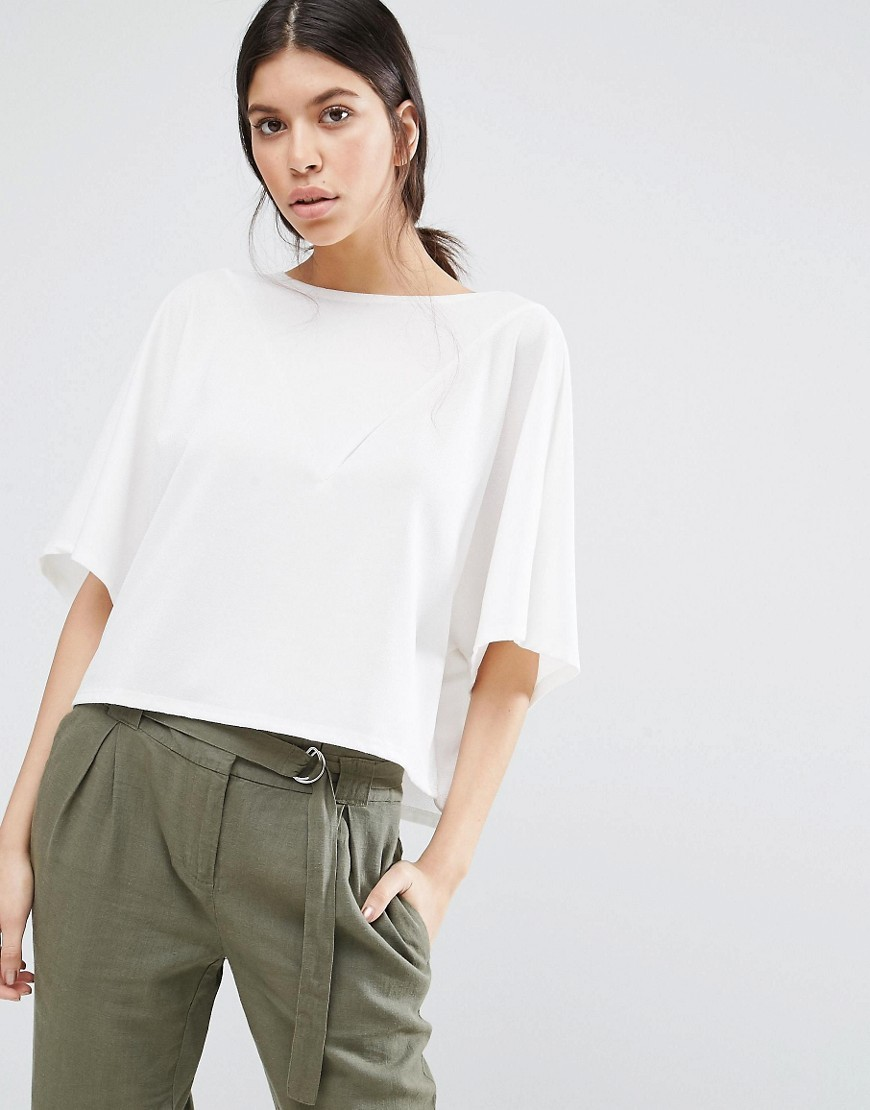 Cropped Shirt With V Insert Snow White - pattern: plain; predominant colour: white; occasions: casual; length: standard; style: top; fibres: polyester/polyamide - 100%; fit: body skimming; neckline: crew; sleeve length: half sleeve; sleeve style: standard; texture group: crepes; pattern type: fabric; wardrobe: basic; season: a/w 2016