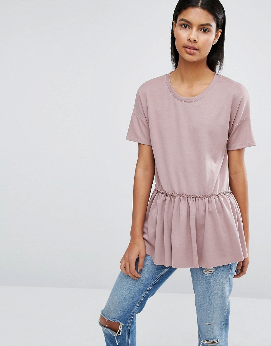 Ruffle Hem Woven T Shirt Mauve - neckline: round neck; pattern: plain; waist detail: drop waist; length: below the bottom; style: t-shirt; predominant colour: blush; occasions: casual, creative work; fibres: polyester/polyamide - mix; fit: body skimming; hip detail: soft pleats at hip/draping at hip/flared at hip; sleeve length: short sleeve; sleeve style: standard; pattern type: fabric; texture group: other - light to midweight; season: a/w 2016