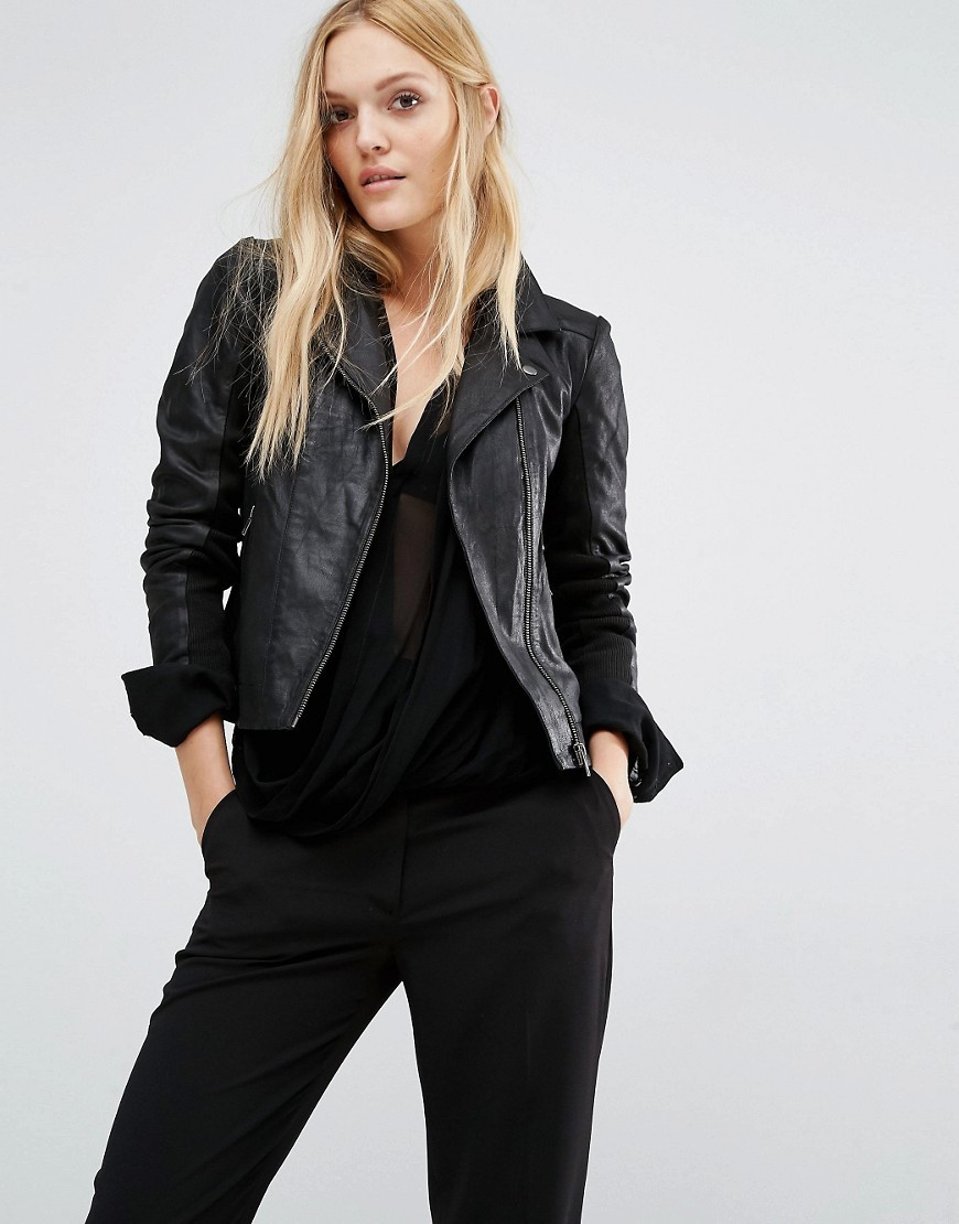 Lindsay Leather Jacket Black - pattern: plain; style: biker; collar: asymmetric biker; predominant colour: black; occasions: casual; length: standard; fit: tailored/fitted; fibres: leather - 100%; sleeve length: long sleeve; sleeve style: standard; texture group: leather; collar break: medium; pattern type: fabric; wardrobe: basic; season: a/w 2016