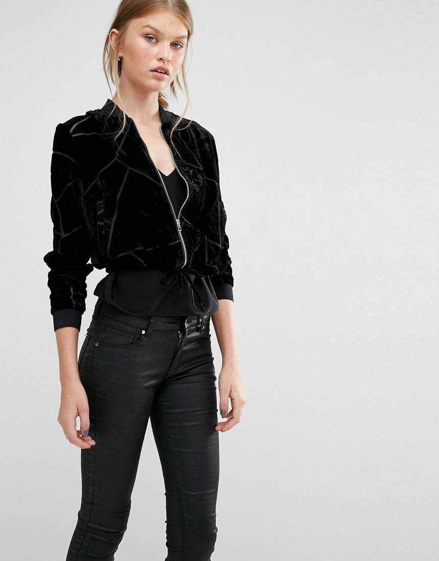 Velvet Burnout Bomber Jacket Black - pattern: plain; collar: round collar/collarless; style: bomber; predominant colour: black; occasions: casual, creative work; length: standard; fit: straight cut (boxy); fibres: polyester/polyamide - 100%; sleeve length: long sleeve; sleeve style: standard; collar break: high; pattern type: fabric; texture group: velvet/fabrics with pile; season: a/w 2016; wardrobe: highlight