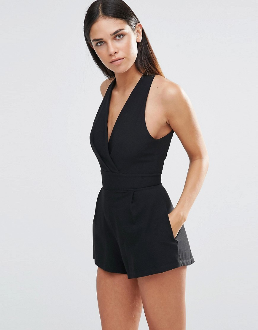Pleated Halterneck Playsuit Black - pattern: plain; sleeve style: sleeveless; neckline: low halter neck; length: short shorts; predominant colour: black; occasions: evening; fit: body skimming; fibres: polyester/polyamide - 100%; sleeve length: sleeveless; texture group: crepes; style: playsuit; pattern type: fabric; season: a/w 2016