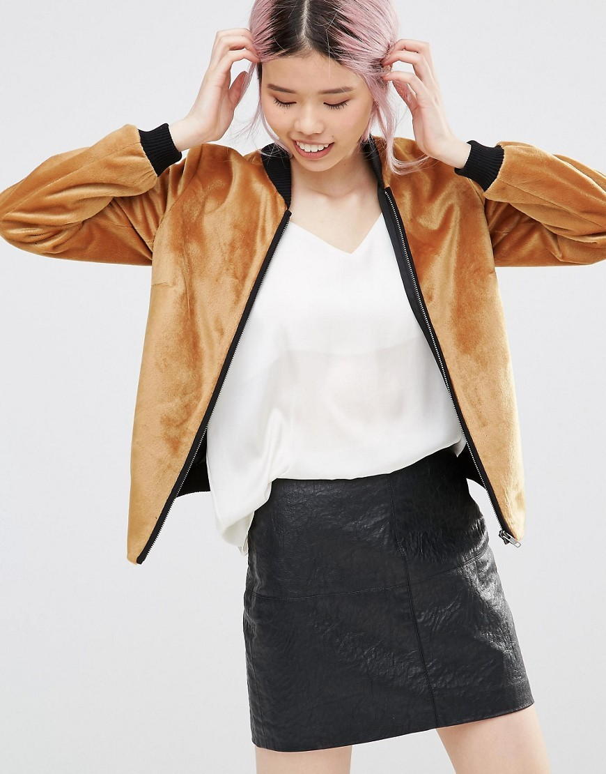Zip Front Bomber Jacket In Textured Mustard Mustard - collar: round collar/collarless; style: bomber; predominant colour: tan; secondary colour: black; occasions: casual; length: standard; fit: straight cut (boxy); fibres: polyester/polyamide - 100%; sleeve length: long sleeve; sleeve style: standard; collar break: high; pattern type: fabric; pattern size: standard; pattern: colourblock; texture group: velvet/fabrics with pile; season: a/w 2016; wardrobe: highlight