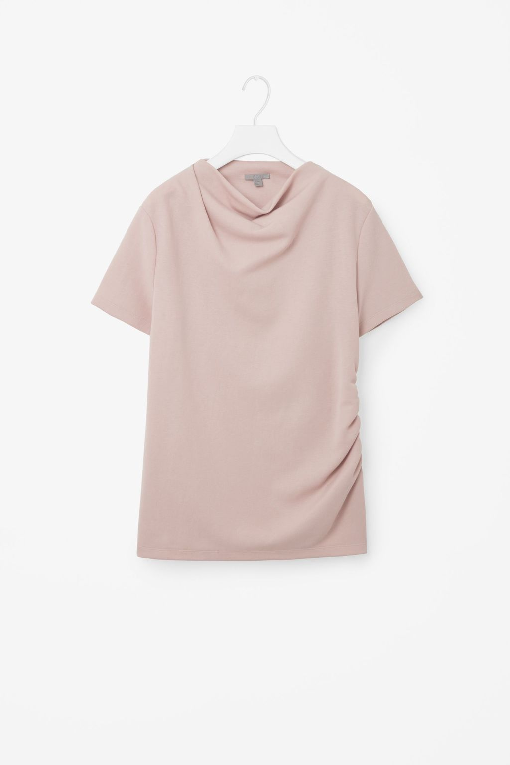 Collapsing Jersey Top - neckline: cowl/draped neck; pattern: plain; style: t-shirt; predominant colour: blush; occasions: casual, creative work; length: standard; fibres: polyester/polyamide - 100%; fit: straight cut; sleeve length: short sleeve; sleeve style: standard; texture group: crepes; pattern type: fabric; wardrobe: basic; season: a/w 2016