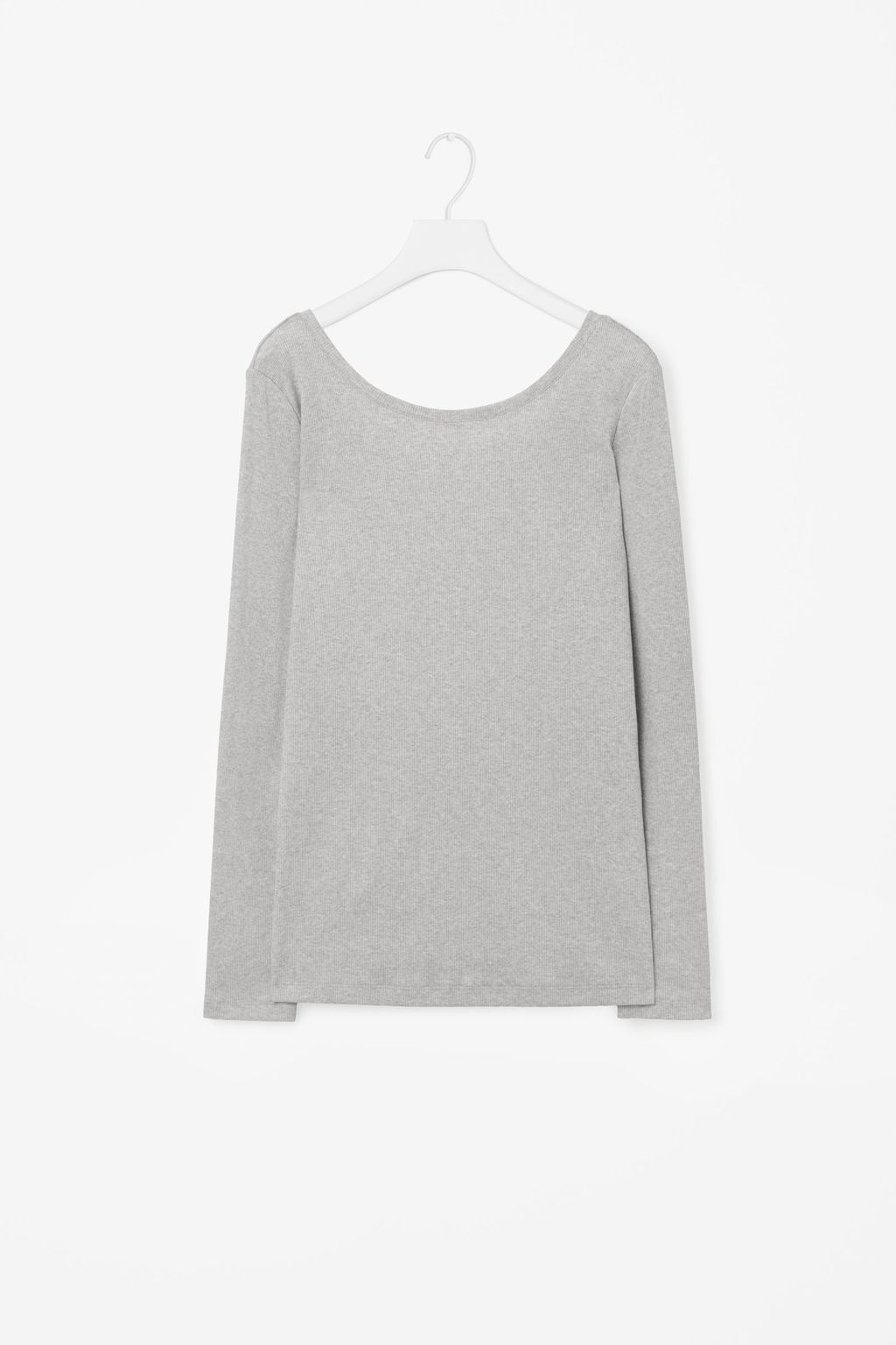 Low Back Ribbed Jersey Top - neckline: round neck; pattern: plain; style: t-shirt; predominant colour: mid grey; occasions: casual; length: standard; fibres: cotton - stretch; fit: straight cut; sleeve length: long sleeve; sleeve style: standard; pattern type: fabric; texture group: jersey - stretchy/drapey; wardrobe: basic; season: a/w 2016