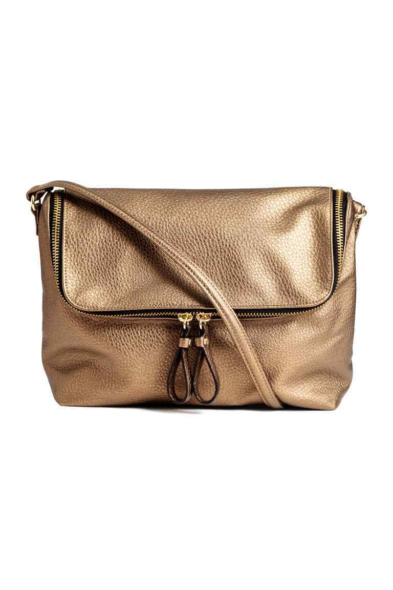 Shoulder Bag - predominant colour: gold; occasions: casual, creative work; type of pattern: standard; style: shoulder; length: across body/long; size: standard; material: faux leather; pattern: plain; finish: plain; season: a/w 2016; wardrobe: highlight