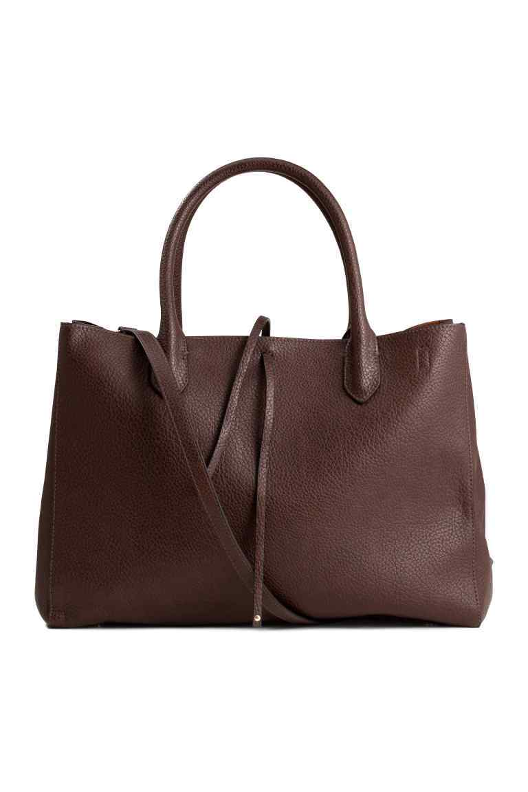 Shopper - predominant colour: chocolate brown; occasions: casual, work, creative work; type of pattern: standard; style: tote; length: handle; size: standard; material: faux leather; pattern: plain; finish: plain; season: a/w 2016
