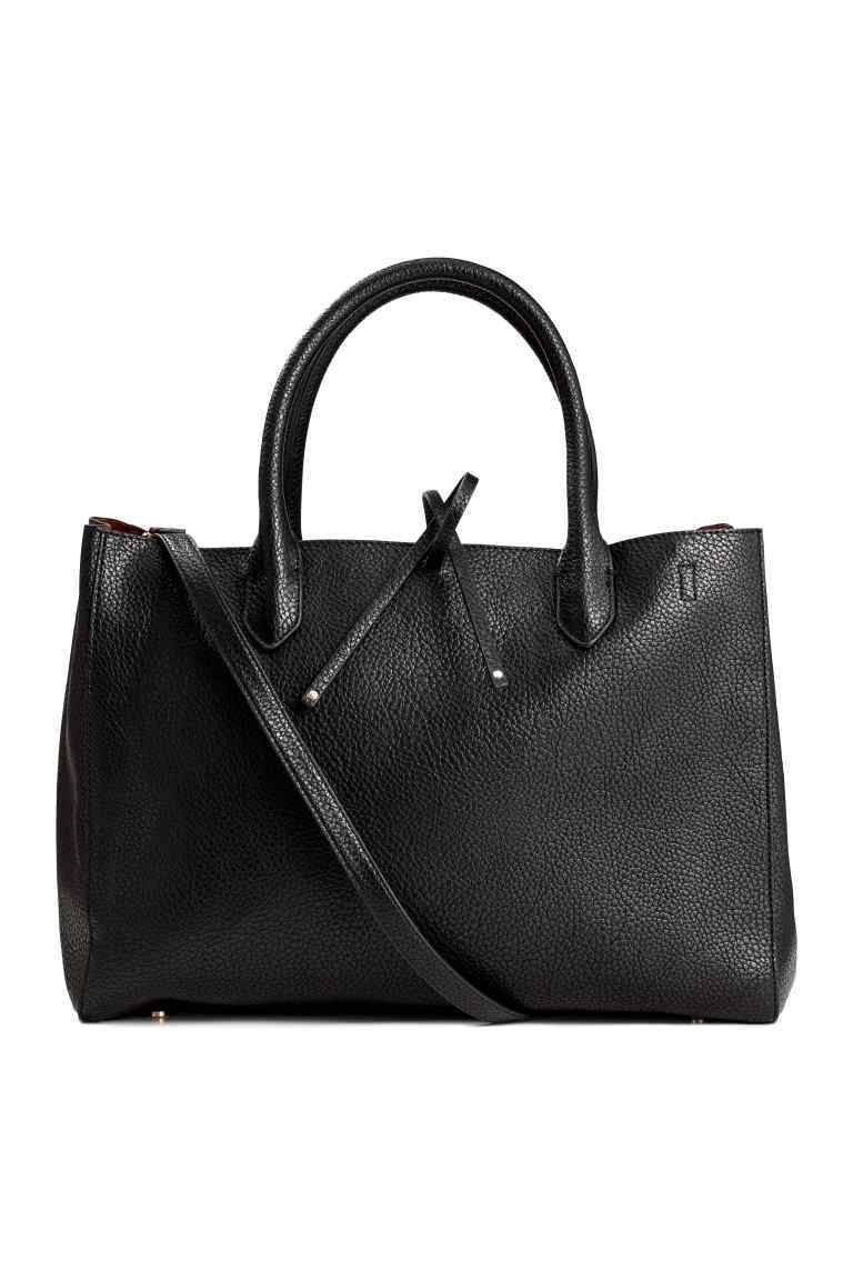 Shopper - predominant colour: black; occasions: casual, work, creative work; type of pattern: standard; style: tote; length: handle; size: standard; material: faux leather; pattern: plain; finish: plain; wardrobe: investment; season: a/w 2016