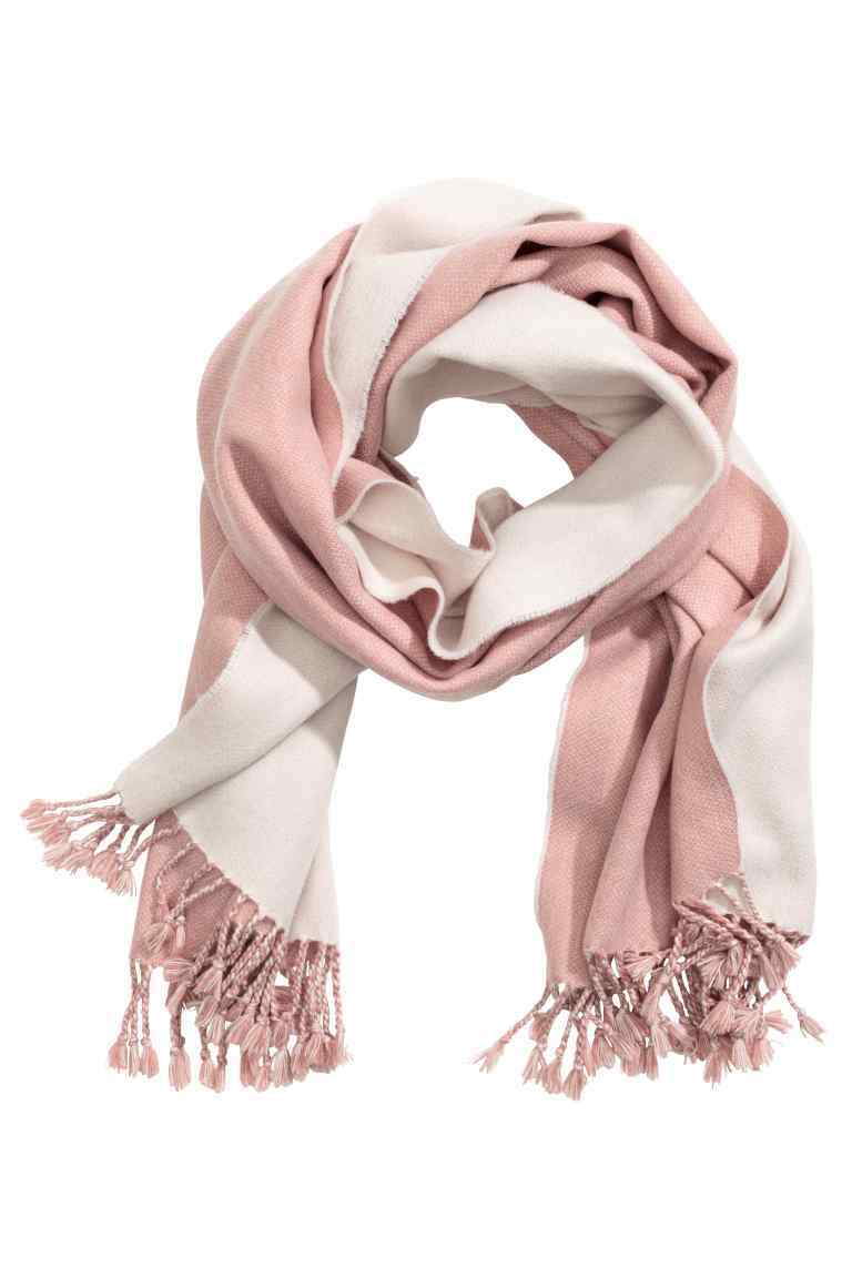 Jacquard Weave Scarf - secondary colour: white; predominant colour: blush; occasions: casual; type of pattern: standard; style: regular; size: standard; material: fabric; embellishment: fringing; pattern: colourblock; season: a/w 2016