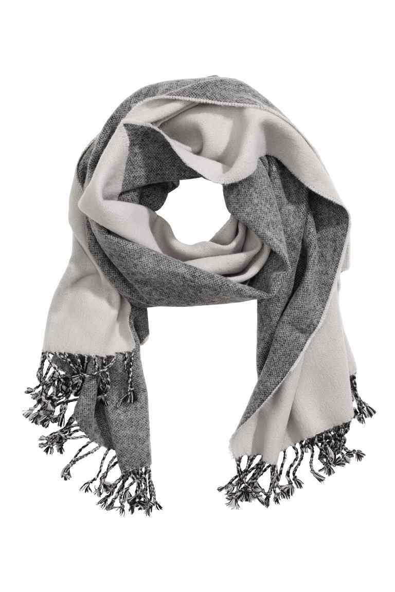 Jacquard Weave Scarf - secondary colour: ivory/cream; predominant colour: mid grey; occasions: casual; type of pattern: standard; style: pashmina; size: standard; material: knits; embellishment: fringing; pattern: colourblock; season: a/w 2016; wardrobe: highlight