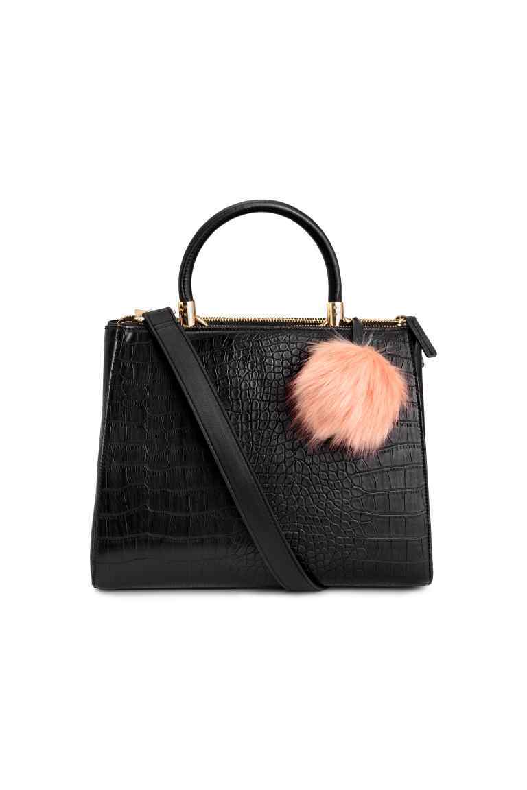 Handbag - predominant colour: black; occasions: work, creative work; type of pattern: standard; style: tote; length: handle; size: standard; material: faux leather; pattern: plain; finish: plain; wardrobe: investment; season: a/w 2016