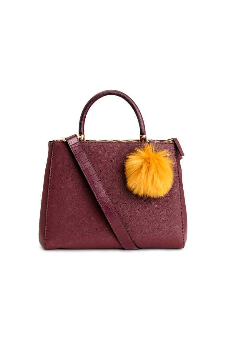 Handbag - predominant colour: burgundy; occasions: work, creative work; type of pattern: standard; style: tote; length: handle; size: standard; material: faux leather; pattern: plain; finish: plain; season: a/w 2016; wardrobe: highlight