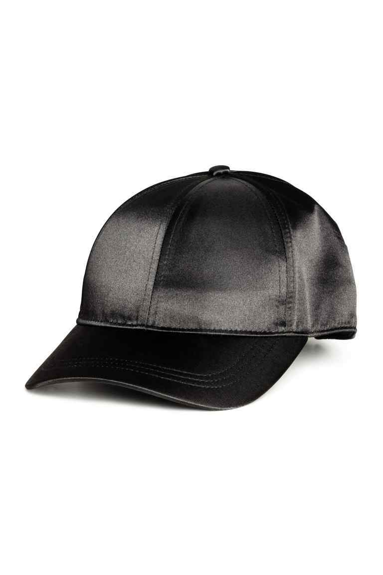 Satin Cap - predominant colour: black; occasions: casual; type of pattern: standard; style: cap; size: standard; material: satin; pattern: plain; wardrobe: basic; season: a/w 2016