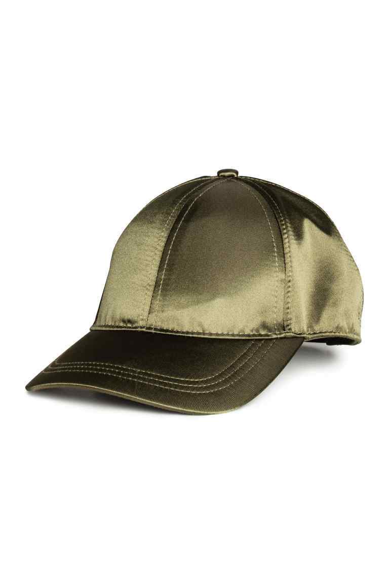Satin Cap - predominant colour: khaki; occasions: casual; type of pattern: standard; style: cap; size: standard; material: satin; pattern: plain; wardrobe: basic; season: a/w 2016