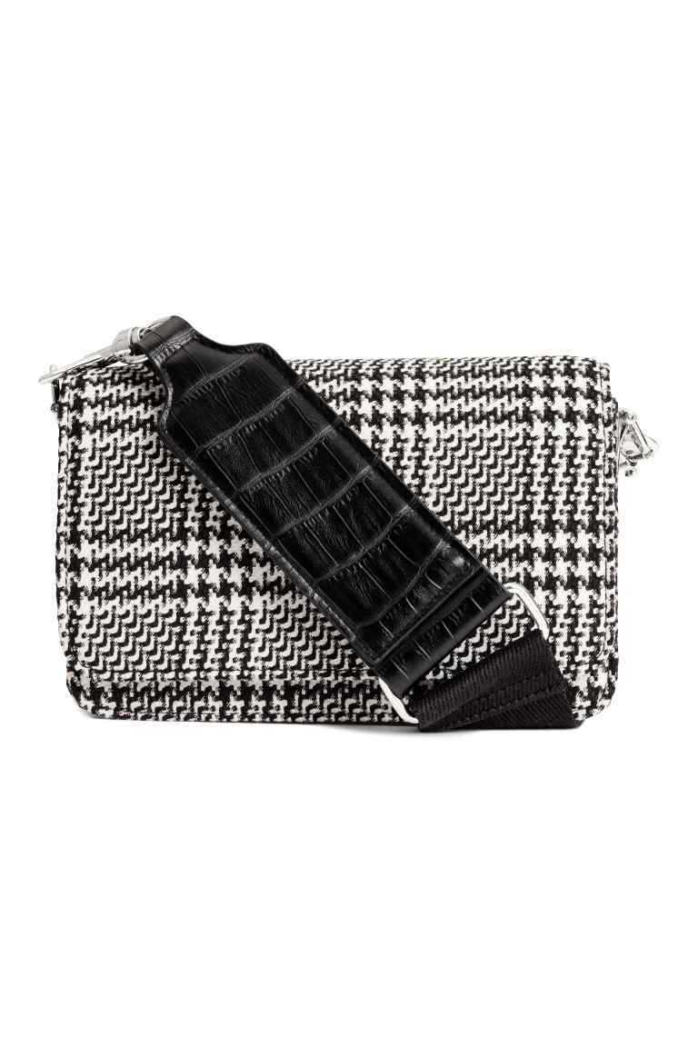 Small Shoulder Bag - secondary colour: white; predominant colour: black; occasions: casual; type of pattern: light; style: shoulder; length: across body/long; size: small; material: faux leather; pattern: herringbone/tweed; finish: plain; season: a/w 2016; wardrobe: highlight