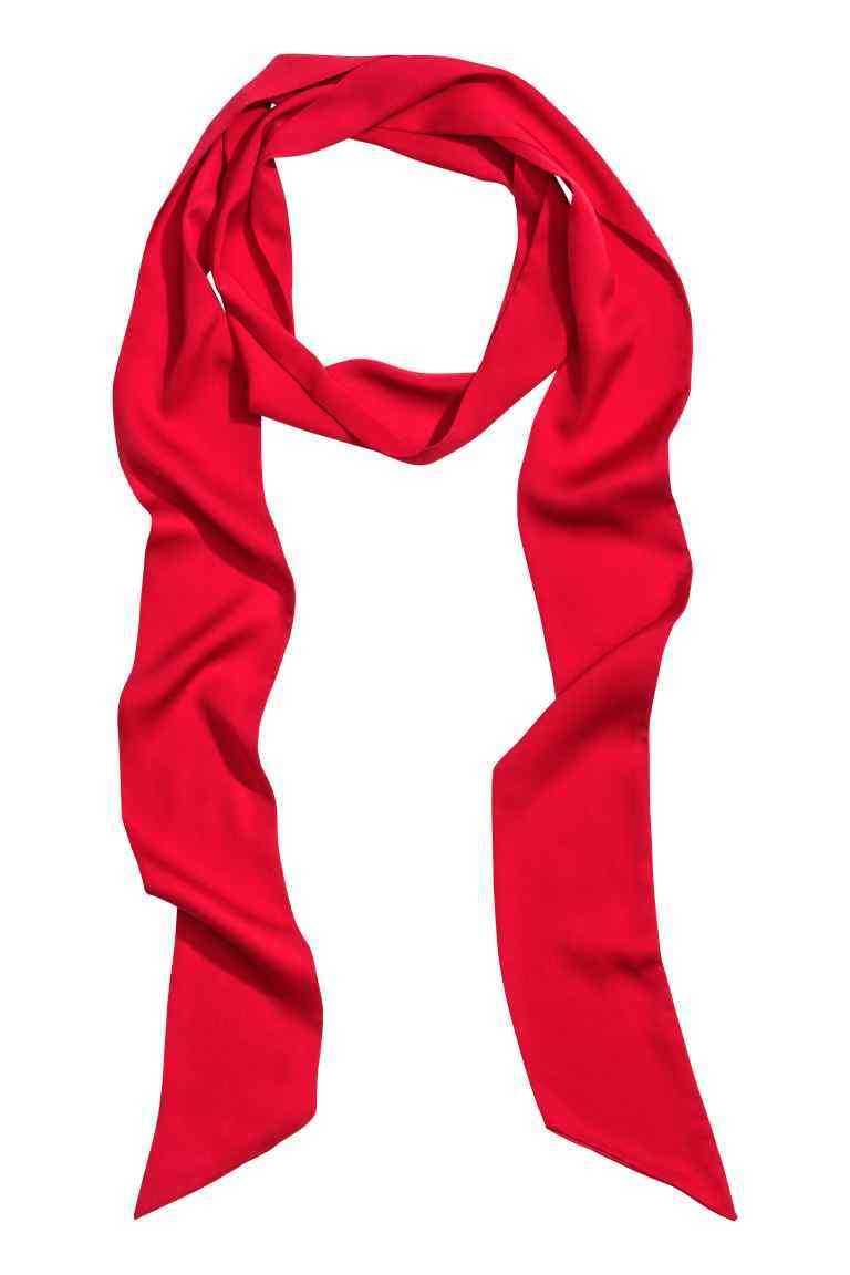 Narrow Satin Scarf - predominant colour: true red; occasions: casual, creative work; type of pattern: standard; style: skinny; size: standard; material: fabric; pattern: plain; season: a/w 2016; wardrobe: highlight