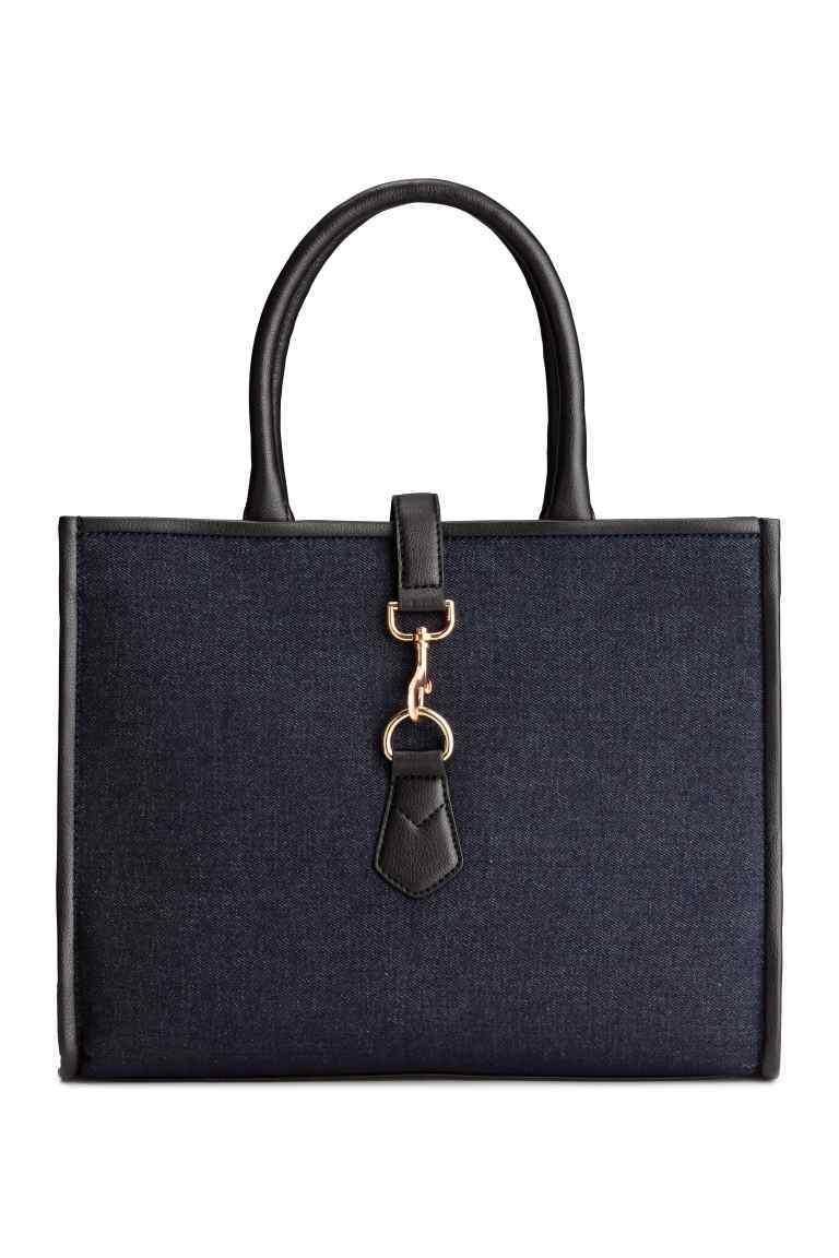 Denim Handbag - predominant colour: black; occasions: work, creative work; type of pattern: standard; style: tote; length: handle; size: standard; material: faux leather; pattern: plain; finish: plain; wardrobe: investment; season: a/w 2016