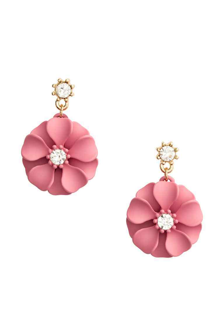 Flower Earrings - predominant colour: pink; occasions: evening; style: drop; length: mid; size: standard; material: chain/metal; fastening: pierced; finish: metallic; season: a/w 2016