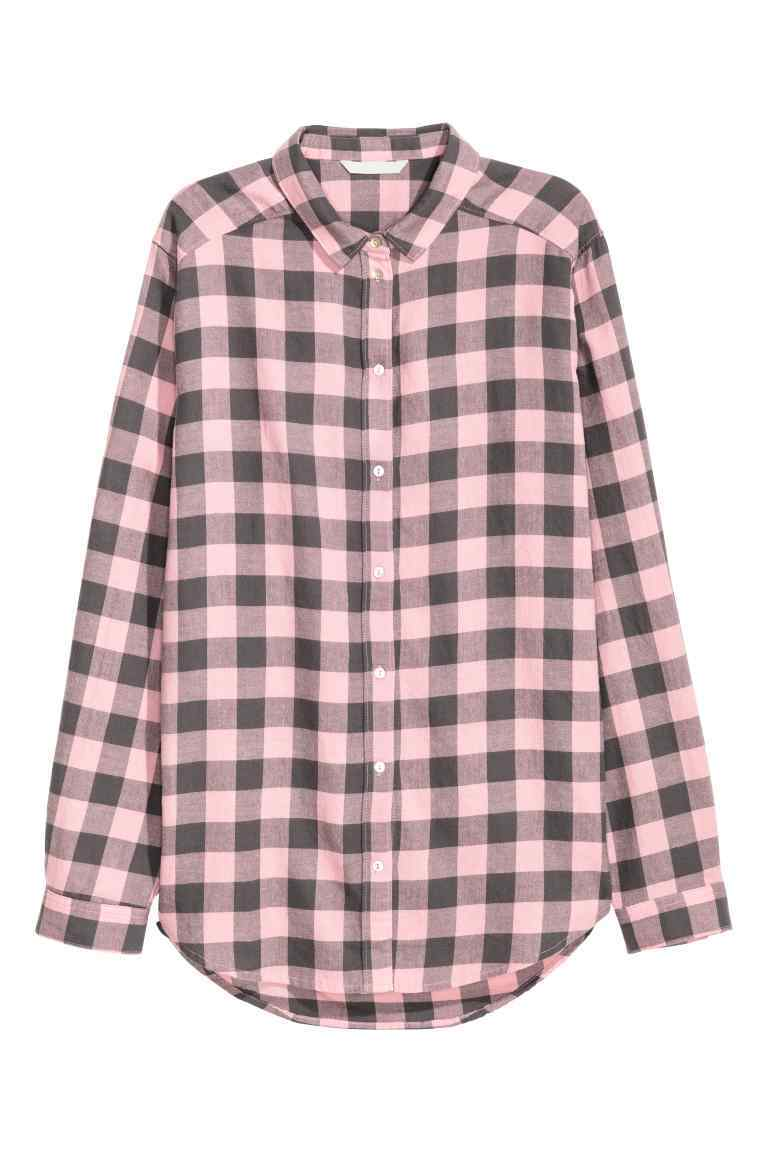 Flannel Shirt - neckline: shirt collar/peter pan/zip with opening; pattern: checked/gingham; style: shirt; secondary colour: pink; predominant colour: black; occasions: casual; length: standard; fibres: cotton - 100%; fit: straight cut; sleeve length: long sleeve; sleeve style: standard; texture group: cotton feel fabrics; pattern type: fabric; pattern size: standard; season: a/w 2016; wardrobe: highlight