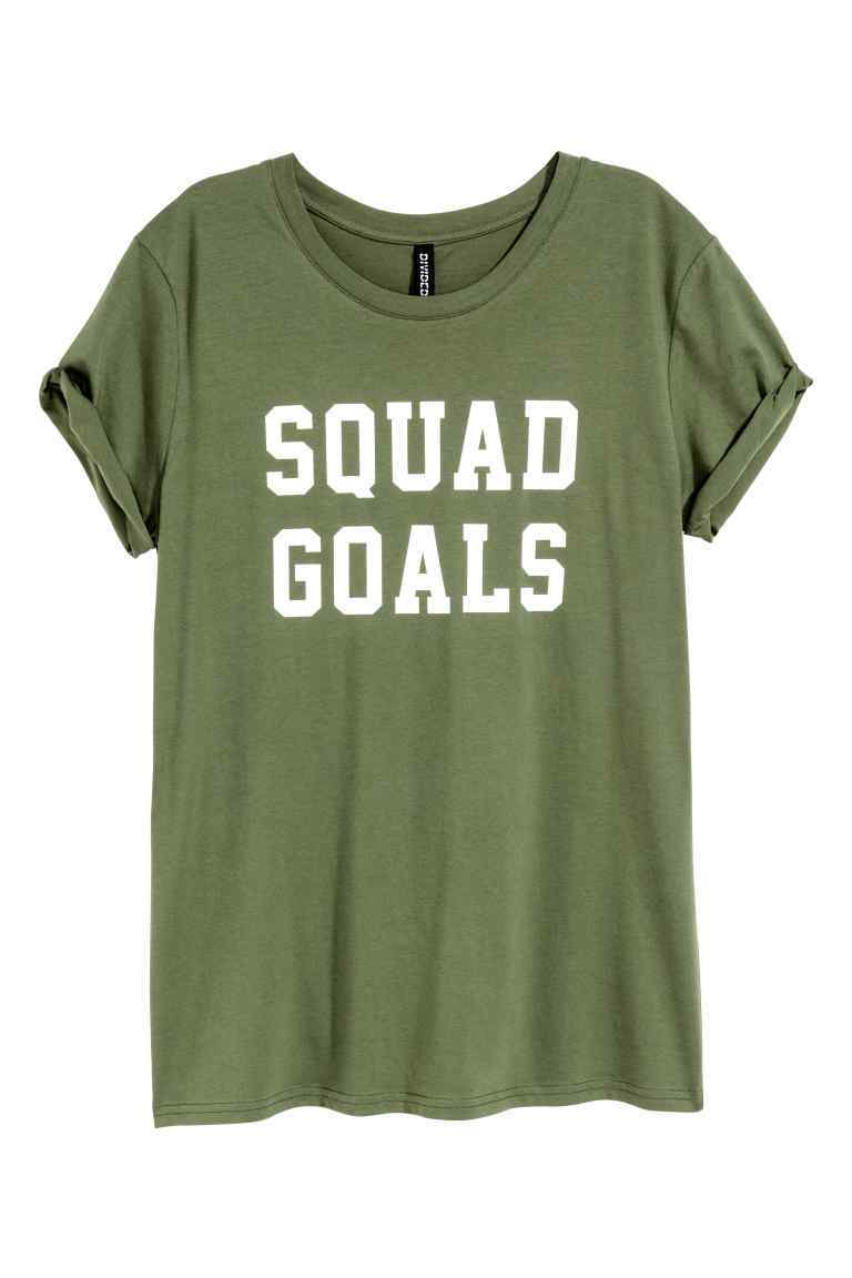T Shirt With A Motif - neckline: round neck; style: t-shirt; secondary colour: white; predominant colour: khaki; occasions: casual; length: standard; fibres: cotton - 100%; fit: body skimming; sleeve length: short sleeve; sleeve style: standard; pattern type: fabric; pattern size: standard; texture group: jersey - stretchy/drapey; pattern: graphic/slogan; season: a/w 2016; wardrobe: highlight