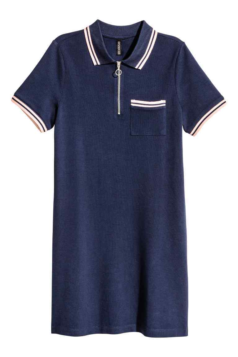 Piqué Dress With A Zip - style: t-shirt; length: mini; neckline: shirt collar/peter pan/zip with opening; bust detail: subtle bust detail; secondary colour: ivory/cream; predominant colour: navy; occasions: casual; fit: body skimming; fibres: cotton - 100%; sleeve length: short sleeve; sleeve style: standard; pattern type: fabric; pattern size: light/subtle; pattern: colourblock; texture group: jersey - stretchy/drapey; season: a/w 2016; wardrobe: highlight